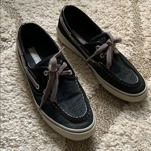 7 Sperry Top-Slider Black w/ Silver Glitter Shoes